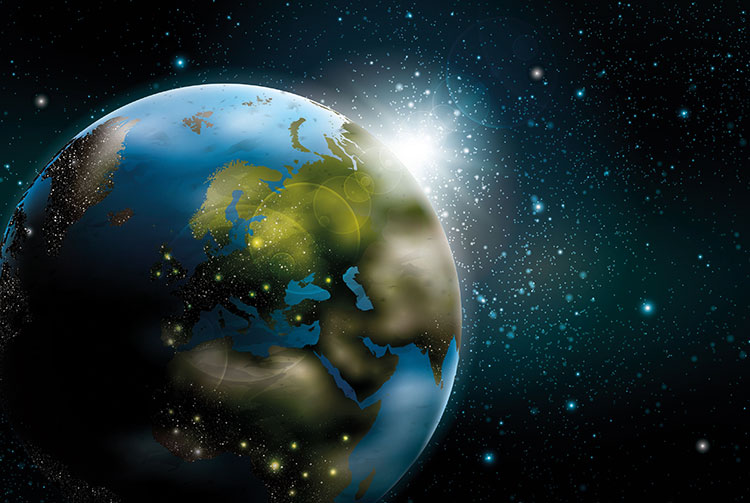 La terra vista dall'universo