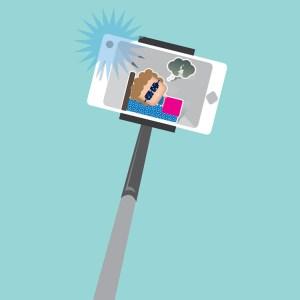 Asta per scattare selfie, nell'anteprima si vede un uomo che dorme