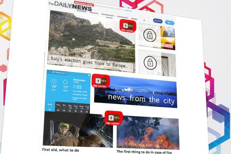 Home page di un sito di informazione in versione gratuita