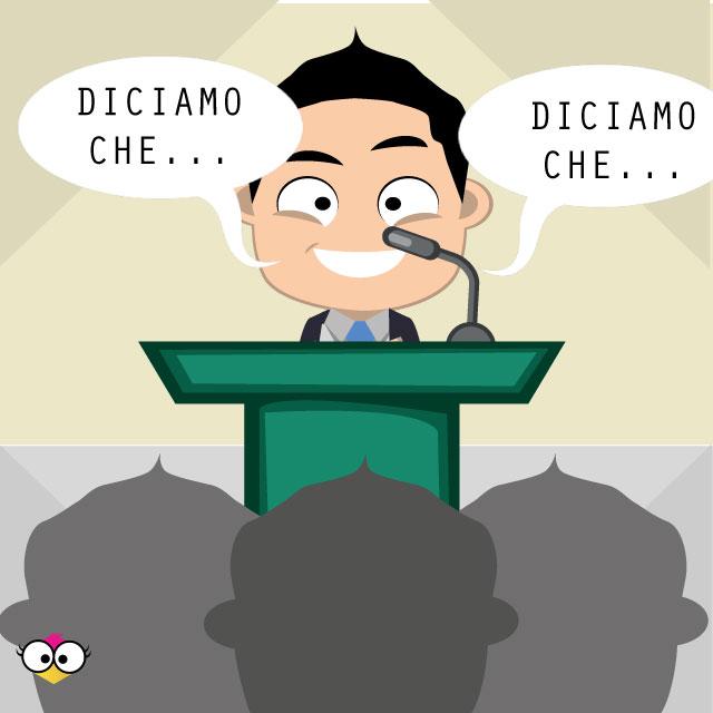 uomo parla davanti ad un pubblico