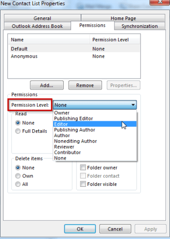 Outlook Public Folder Permission Level By User