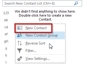 Outlook Public Folder New Contact