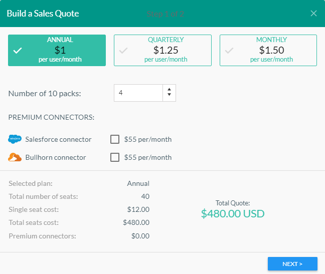 Build a sales quote