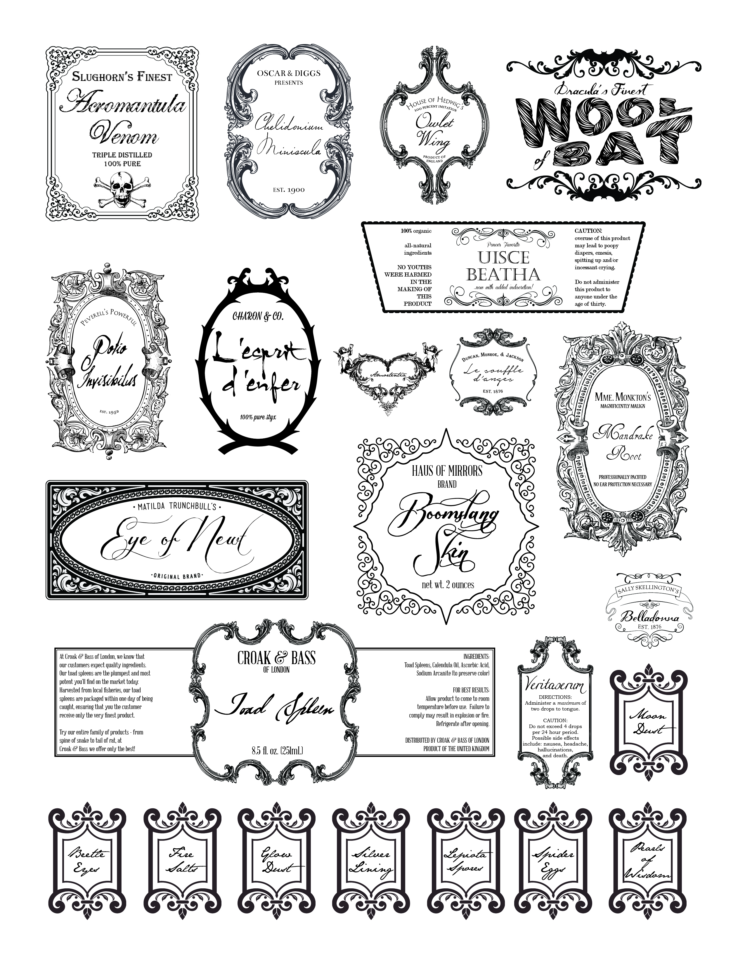 photo regarding Harry Potter Potion Labels Printable titled Halloween Archives Circa 1932