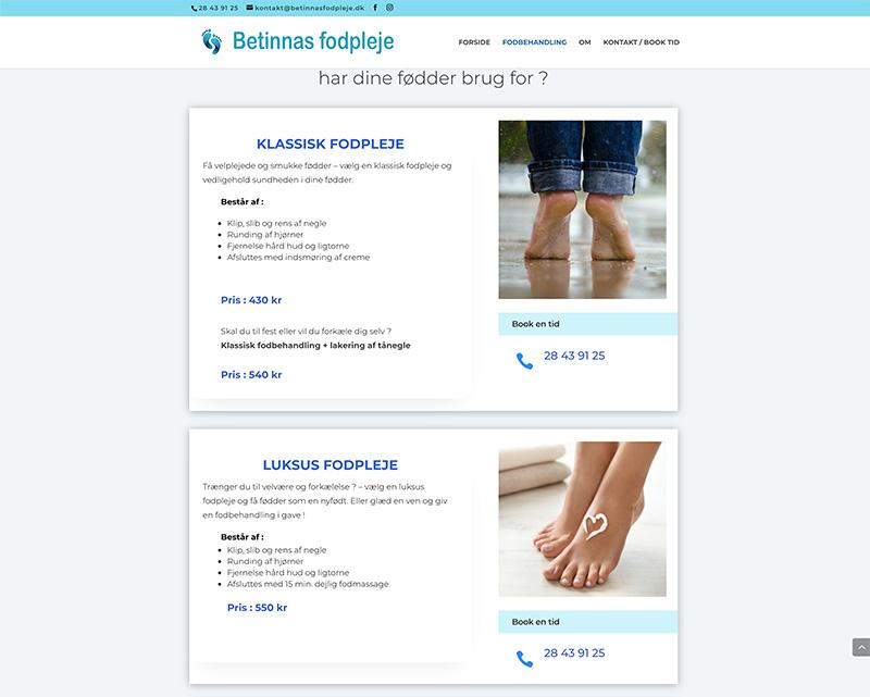 Webdesign af fodbehandlinger