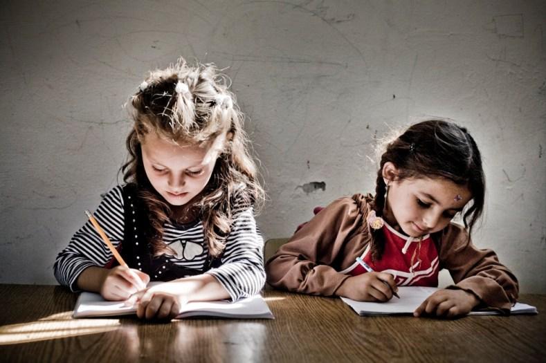 Children in a village school near Nablus.
