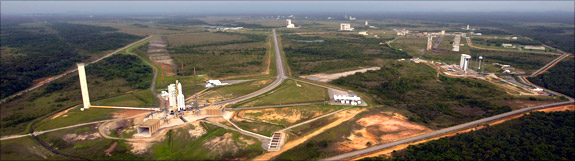 Atop the Ariane 5 rocket in Kourou, French Guiana, Herschel waits for its May launch. Named after the British astronomer William Herschel, who discover the infrared spectrum and Uranus, the observatory is the largest space telescope ever launched. Photo courtesy of the ESA.