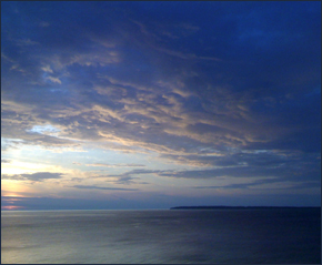 Lake Michigan & Cloudy Sky.  Photography by J. Carl Ganter.