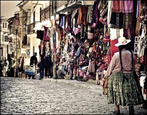 Vendors on the streets of La Paz, Bolivia