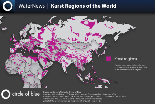 World Karst Regions Map