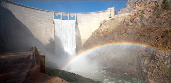 Strontia Dam is one of over 100 dams in the Colorado River Basin that divert the river's water to distant and drier communities and farmlands.