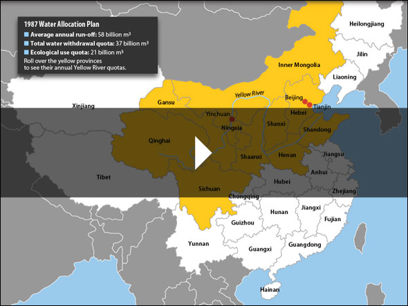 Infographic Map Of Water Allocations In Chinas Yellow River - Yellow river on world map
