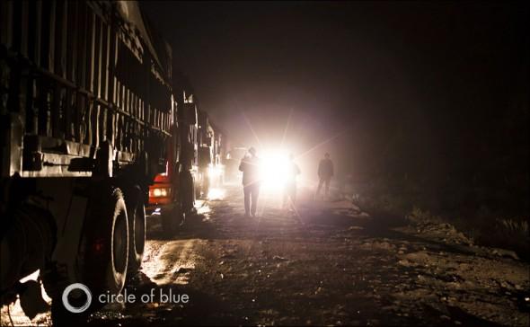 China Water Energy Baotou Coal Truck Traffic Jam Inner Mongolia
