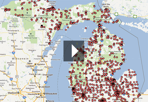 Click to open up the interactive Google Fusion map and explore Michigan's LUST sites.