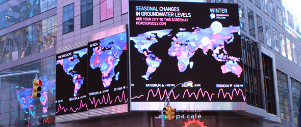 """The winning design by Richard Vijgen in the World Water Day competition by HeadsUP and Visualizing.org will be on display in New York City's Times Square for one month. Titled """"Seasonal and Longterm Changes in Groundwater Levels,"""" Vijgen's design uses NASA's gravitational data."""
