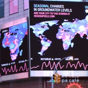 "The winning design by Richard Vijgen in the World Water Day competition by HeadsUP and Visualizing.org will be on display in New York City's Times Square for one month. Titled ""Seasonal and Longterm Changes in Groundwater Levels,"" Vijgen's design uses NASA's gravitational data."