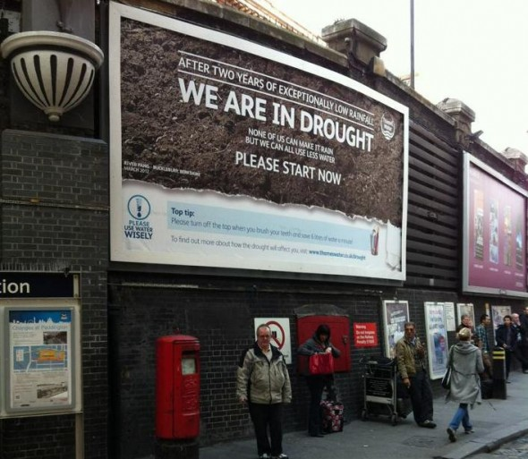 London England drought paddington station domestic water use UK united kingdom billboard