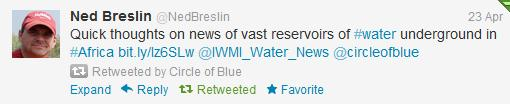 Twitter Circle of Blue Ned Breslin Africa groundwater