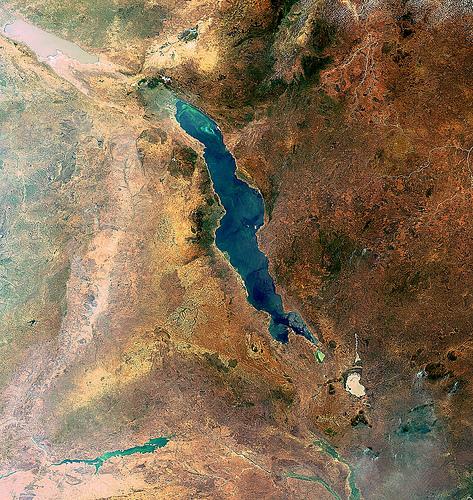 Circle of Blue Lake Malawi satellite