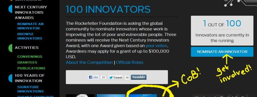 rockefeller foundation innovation award circle of blue nominate