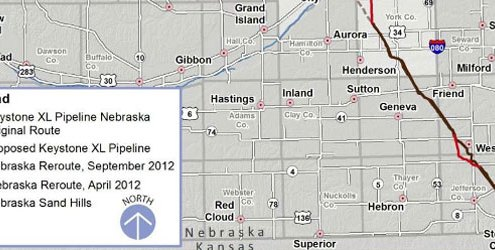 Keystone XL reroute map
