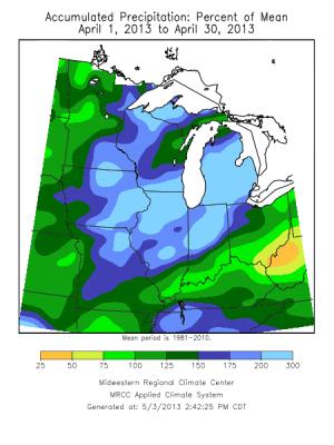 Midwest agriculture farming corn 2013 precipitation