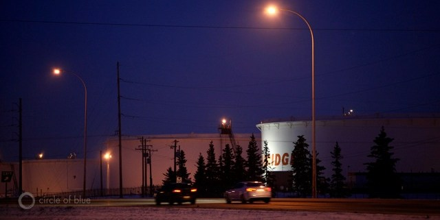 Enbridge Inc., based in Calgary, is the largest shipper of Canadian crude oil, built and operates the twin, 20-inch-diameter steel pipelines, about 1,000 feet apart, that cross the Straits of Mackinac in northern Michigan. The company's holdings include this tank farm in Edmonton, Alberta. Photo/Keith Schneider