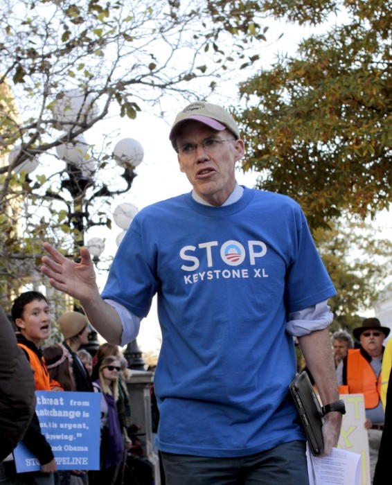 Bill McKibben, a leading environmental activist and the founder of 350.org, will be the keynote speaker at Sunday's rally in St. Ignace. Here, McKibben speaks at a Keystone XL Pipeline protest at the White House in November of 2011.