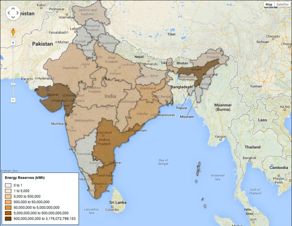 Energy India Fusion Tables Map Choke Point Circle of Blue