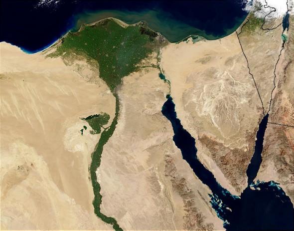 Nile River delta satellite image NASA Egypt agriculture Mediterranean Sea fertile land
