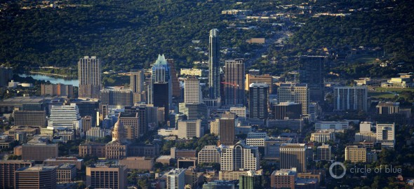 Downtown Austin City Limits Colorado River Texas water skyline J. Carl Ganter Circle of Blue