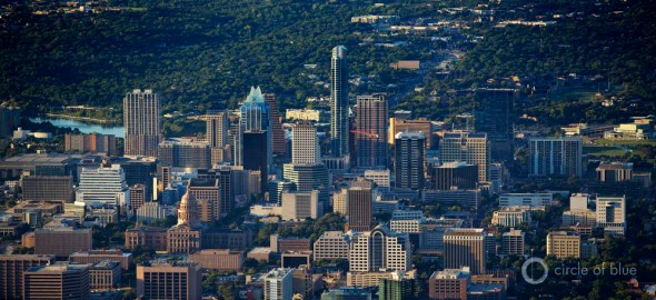 Downtown Austin City Limits Colorado River Texas water skyline J. Carl Ganter Circle of Blue