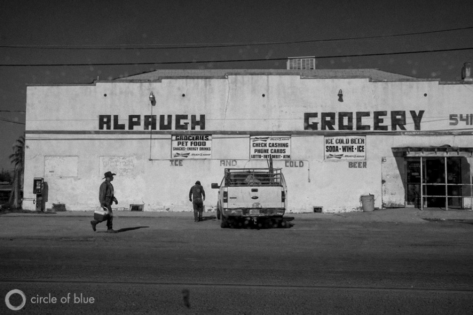 Pedestrians in Alpaugh, a small farmworker town in the Central Valley.
