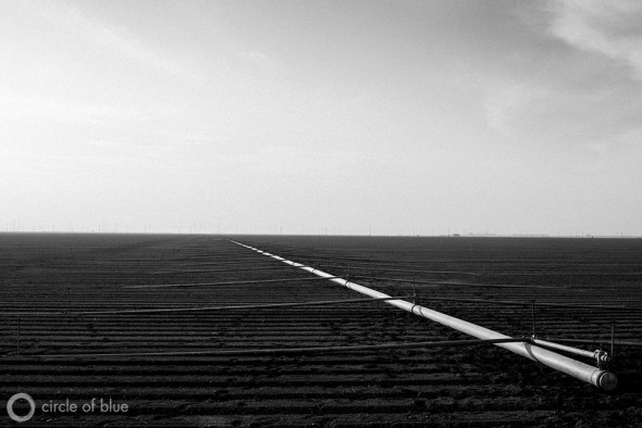 Irrigation pipes in the Westlands Water District, home to some of California's largest farms. Growers in the area have seen their water supply cut in recent years, leading for calls to construct a new tunnel system to deliver more water from the California Delta.
