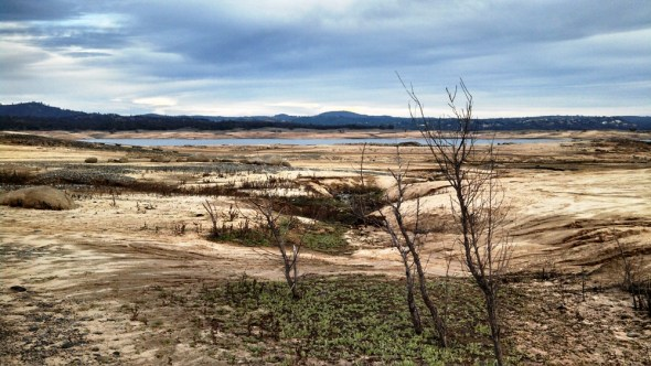 California Folsom Lake climate change drought shrinking reservoir