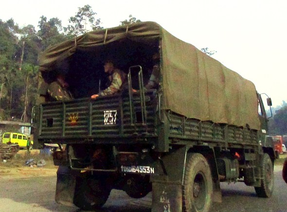 """In response to insurgent bullying and frequent declarations of """"bandh"""" or shutdown, Meghalaya maintains a strong police and army security presence."""