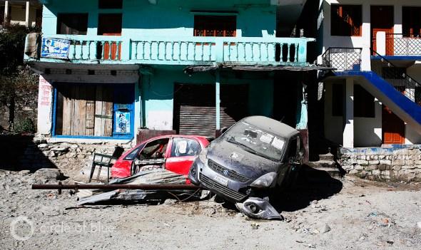 In Sonprayag, downriver on the Mandakini River from Kedarnath, cars are still piled on each other. Photo: Dhruv Malhotra