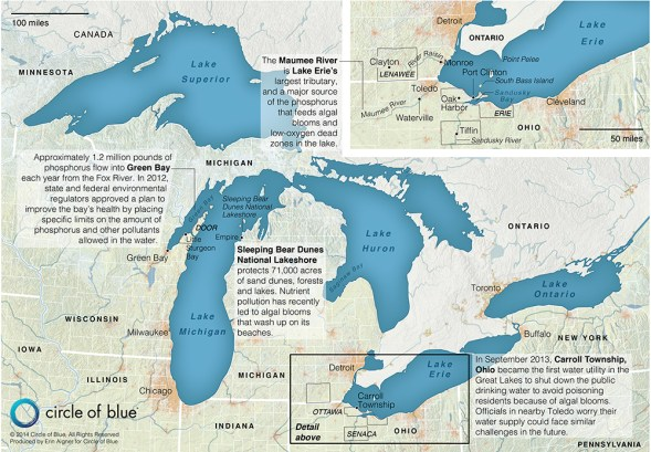 Great Lakes map harmful algal blooms Lake Erie Lake Michigan Lake Huron Green Bay United States Canada phosphorus pollution Maumee River Sleeping Bear Dunes National Lakeshore algae