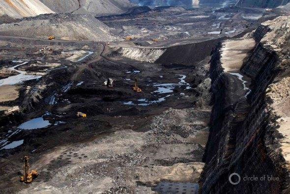 Most of India's electricity is fueled by coal, much of it from big surface mines, like this one in Chhattisgarh in eastern India.
