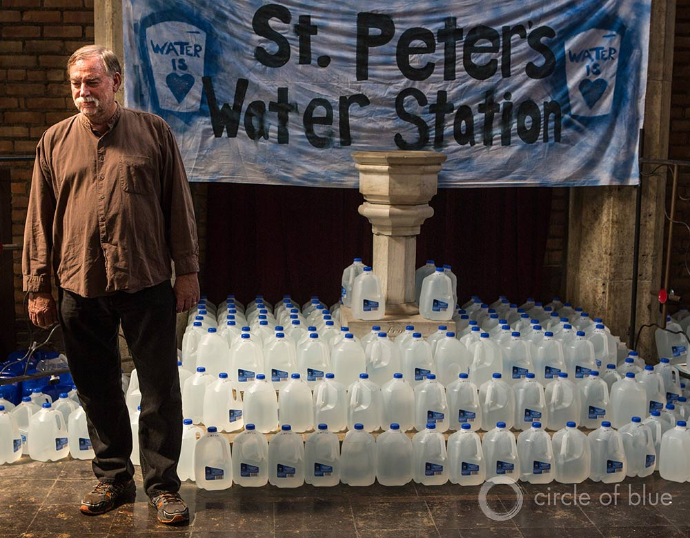St. Peter's Episcopal Church in Detroit's Corktown neighborhood serves as a water station for homeowners who lost their water due to shutoffs. Pastor Bill Wylie-Kellermann was arrested twice earlier this year protesting the shutoffs.