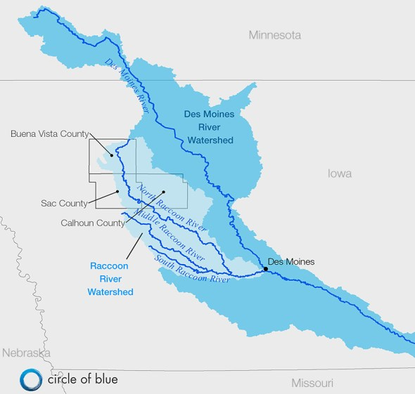 Map Infographic Graphic Des Moines River Watershed Raccoon River Basin Iowa Buena Vista Sac Calhoun County Clean Water Act lawsuit drainage district nitrate pollution Kaye LaFond Circle of Blue