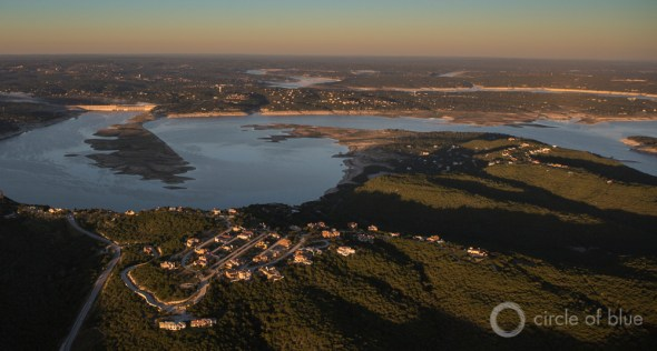Central Texas Lake Travis reservoir Austin water supply drought Highland Lakes Colorado River J. Carl Ganter Circle of Blue