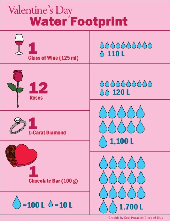 Infographic Graphic virtual water footprint Valentine's Day gallons liters dozen roses glass of wine diamond ring chocolate bar Circle of Blue Codi Yeager Kozacek Kaye LaFond