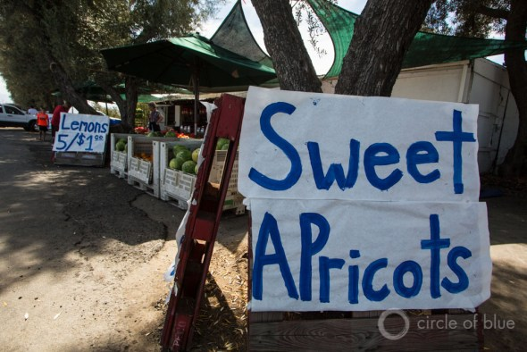 California Tulare County drought apricot lemon fruit vegetable stand farmers market food prices J. Carl Ganter Circle of Blue
