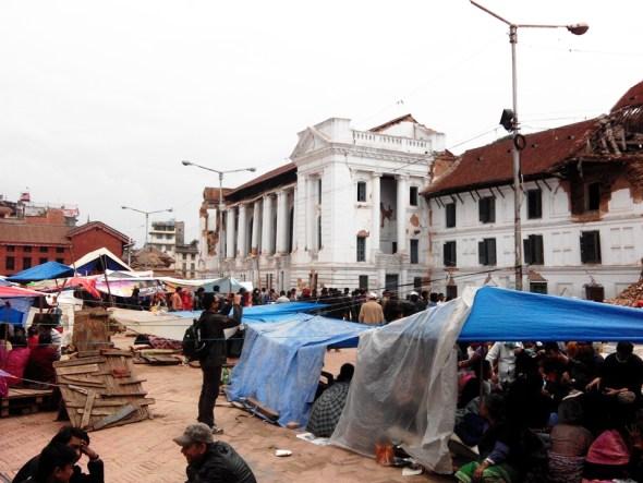Nepal earthquake Gorkha Kathmandu devastation debris makeshift tent camp shelter L. Dan Stewart Peace Corps