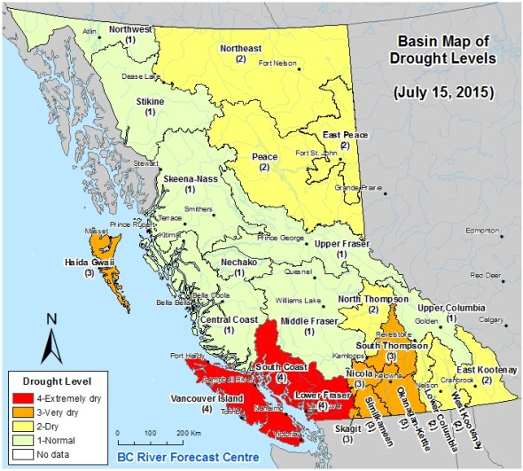 British Columbia drought map infographic river forecast center South Coast Lower Fraser River Vancouver Island