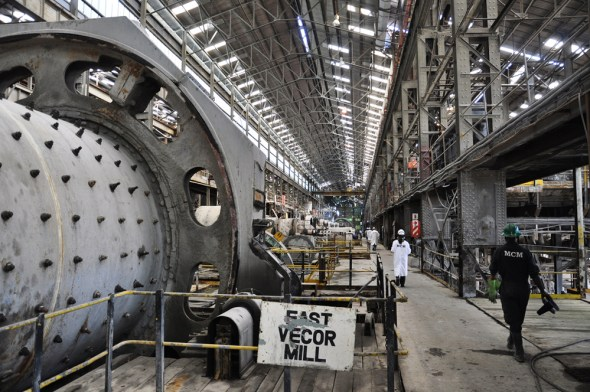 Zambia Africa copper mining Mopani Mine Kitwe milling hall East Vecor Mill workers