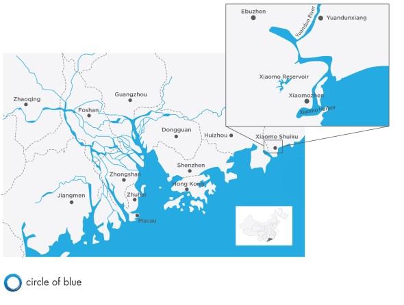 Map Infographic Pearl River Delta China Shenzhen Circle of Blue economic development