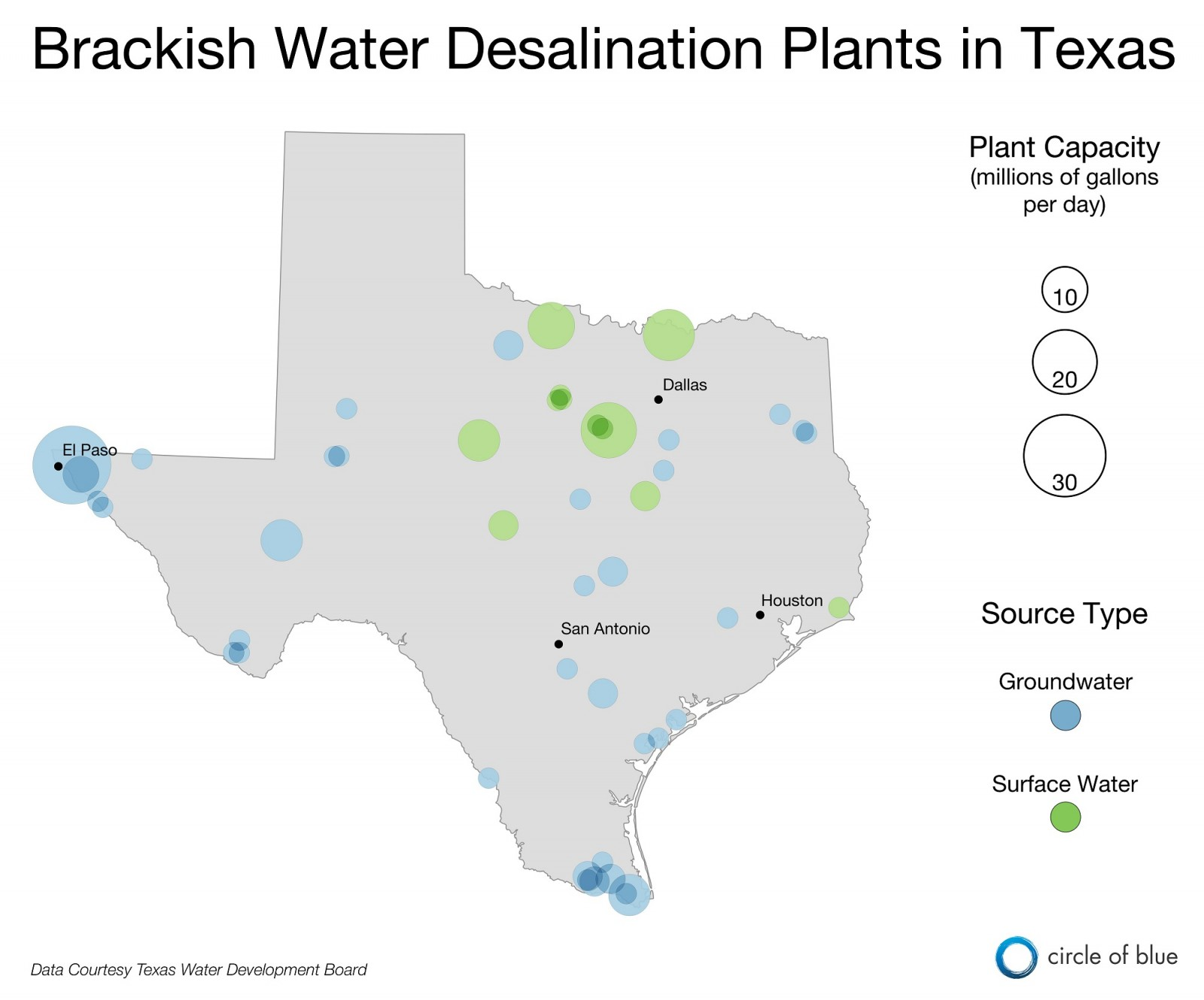 Infographic Brackish Water Desalination Plants in Texas Circle