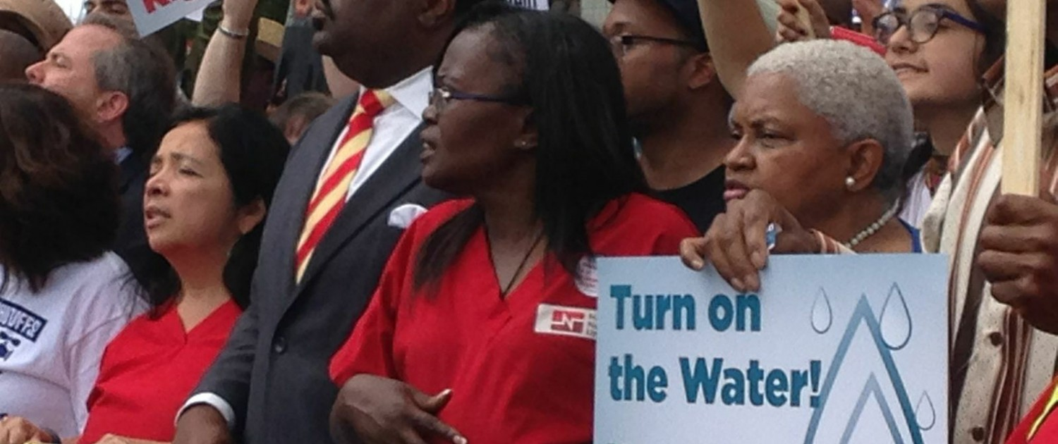 In August 2014, people rallied in Detroit to protest the cutting of water service to residents behind on their bills.
